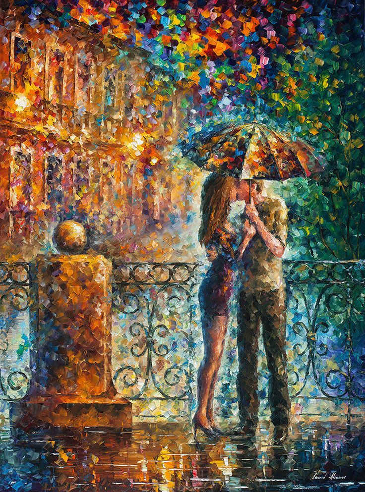 "Kiss Under Umbrella   —  Oil Painting On Canvas By Leonid Afremov. Size: 30""x40"" #Impressionism"
