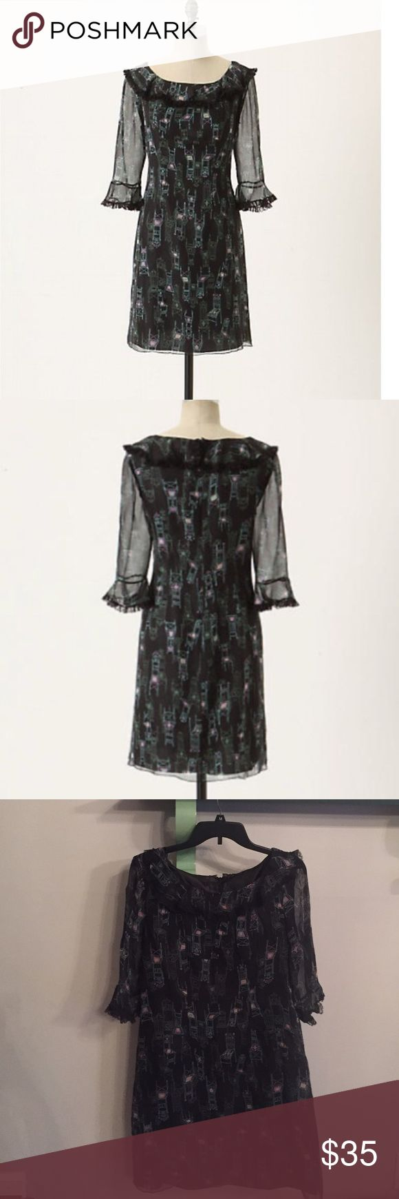 "Anna Sui for anthropologie parlor games dress Shift style type dress with adorable chair patterns and sheer sleeves. In perfect condition. Bust is 19"" and length is 34.5"". So adorable with a belt and boots or a cardigan and heels. Back zipper and fully lined aside from the sleeves Anthropologie Dresses"