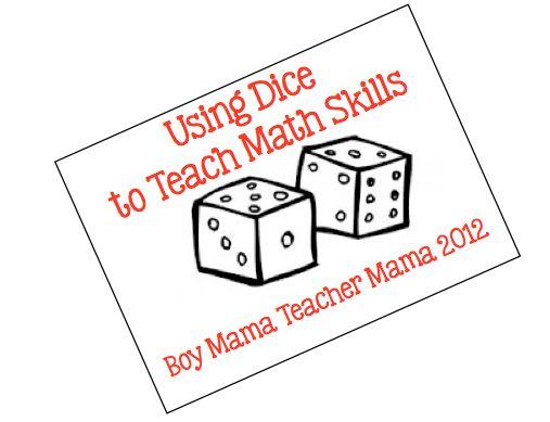 Boy Mama Teacher Mama   Using Dice to Teach Math Skills