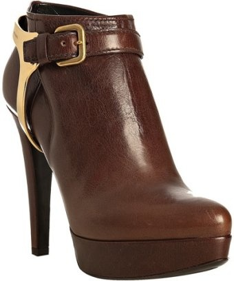 Prada Cocoa Leather and Metal Harness Bootie