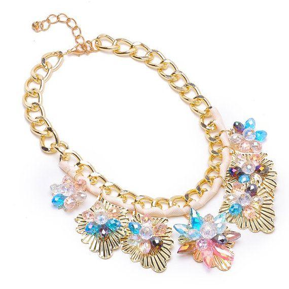 FJ Fashion Gold Chain Colorized Charm Crystal by Glamorosajewelry