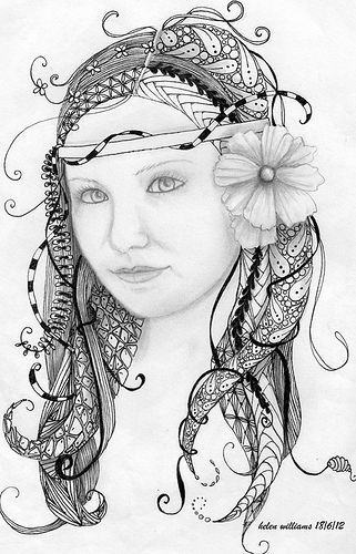 129 best images about beautiful zentangle women girls on for Doodle art faces
