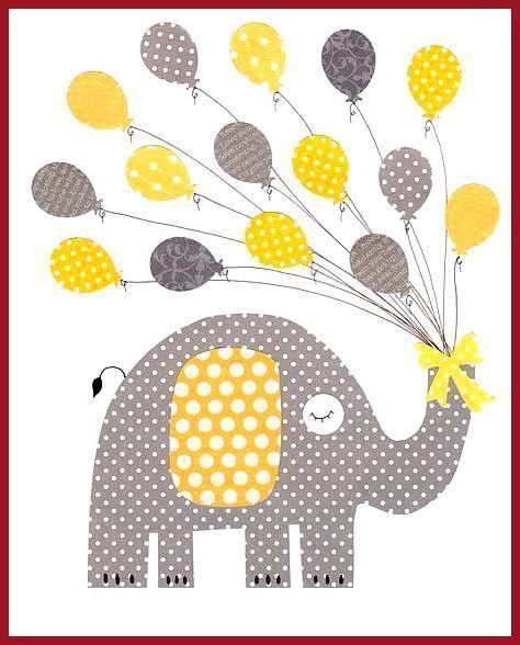 Gelbe und graue Liebe Kinderzimmer Illustrationen drucken