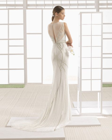 Ivory Chiffon Column Dress