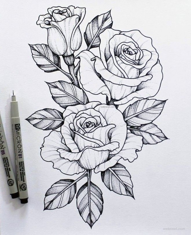 45 Beautiful Flower Drawings And Realistic Color Pencil Drawings Beautiful Flower Drawings Rose Tattoos Tattoo Templates