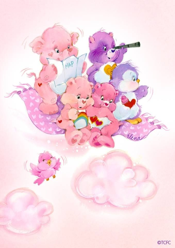 This would be a super cute tattoo - Care Bears + Care Bear Cousins: Lotsa Heart Elephant, Bright Heart Raccoon, Cozy Heart Penguin, Love-a-Lot + Cheer Bear