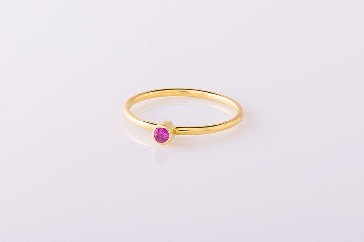Verlovingsring geelgoud met roze korund