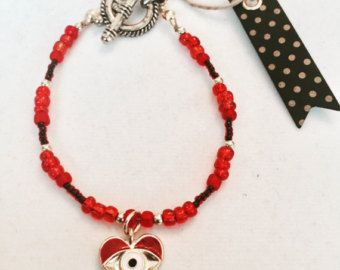 Charm Glass Bead Bracelet Diamond Stone by MJCustomDesignCanada