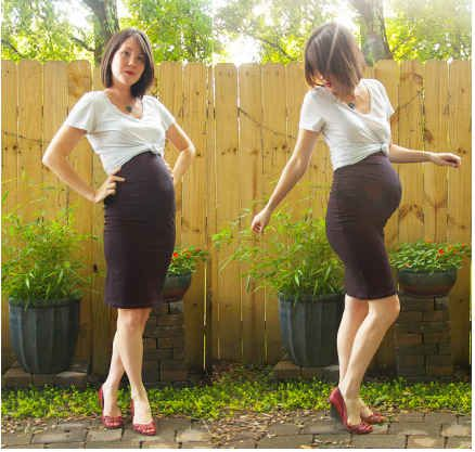 Stretchy pencil skirt & knotted v neck tee.