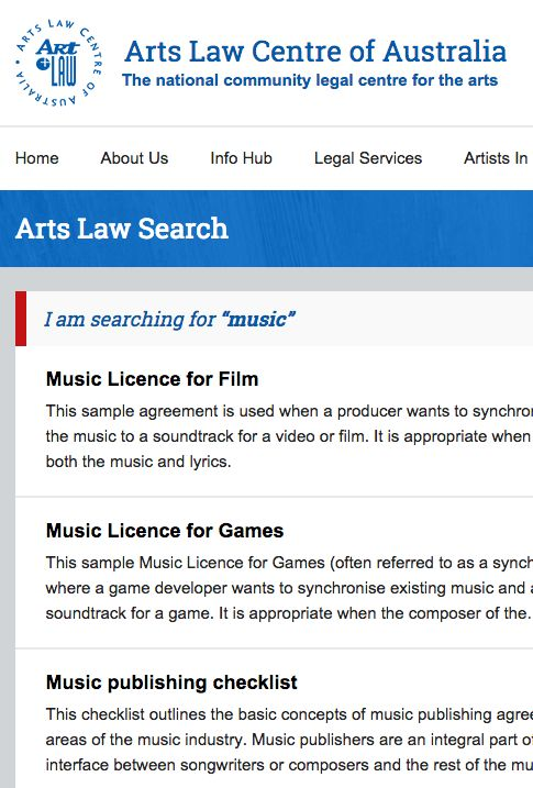Arts Law Centre of Australia – list of pages about music