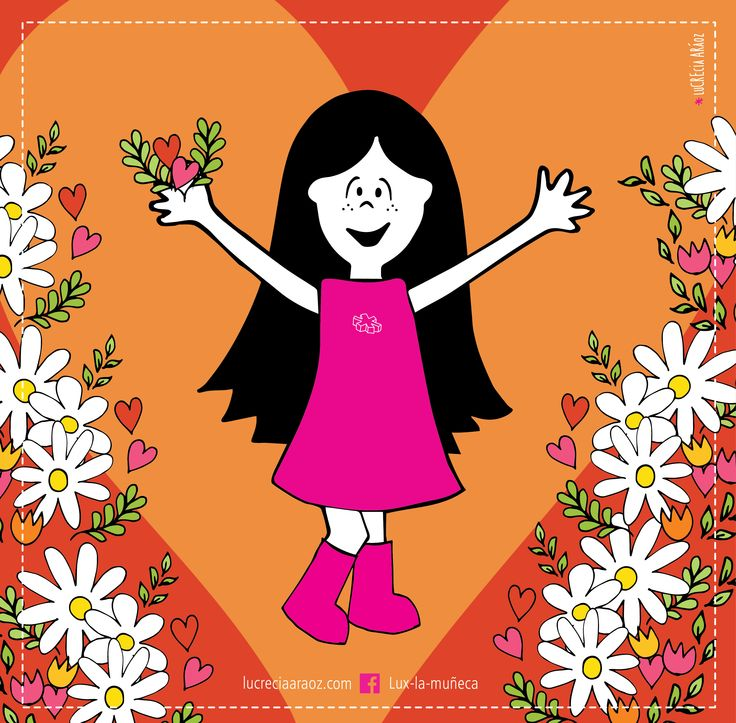 Lux hawaiana!   #lux #muñeca #pink #doll #spring #primavera #corazon #heart #naranja #orange #flores #flowers #margaritas #daisy #ilustration #ilustracion ver mas en FB: lux la muñeca
