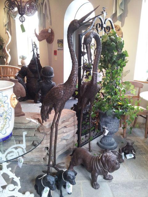 Bronze Crane Pair Fountains
