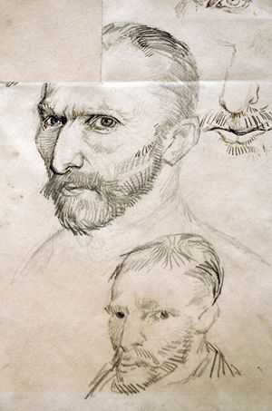 """Van Gogh self-portrait drawings, 1887. From """"100 Self-Portrait Drawings from 1484 to Today"""""""