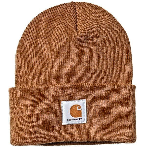 Carhartt Brown Watch Beanie ($29) ❤ liked on Polyvore featuring accessories, hats, beanie, ski cap, beanie cap, beanie cap hat, carhartt hat and carhartt beanie