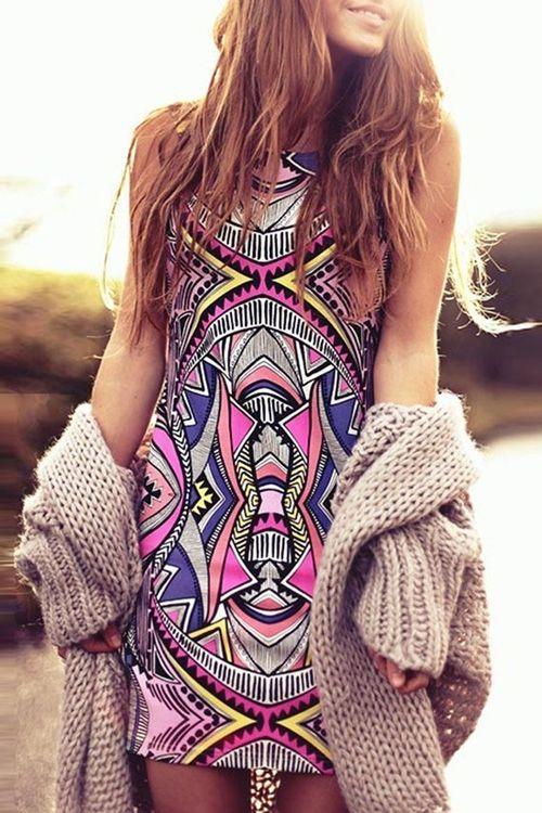 pegasus running shoes Colorful Geometric Pattern Sleeveless Dress