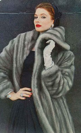Suzy Parker. 1950's vintage fashion - A sapphire mink coat |Pinned from PinTo for iPad|
