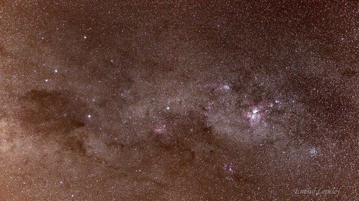 Southern Cross - Carina regio - The Southern Milky Way from Crux (Southern Cross)  to Carina constellation. It's a stitch of 3 pictures. Expo.30 sec, 1600 ISO, 50mm. lens, Camera Canon 550D, the camera was mounted (piggyback) on a Go To telescope.