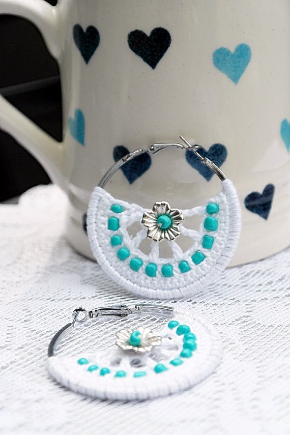 Crochet Earrings with the white yarn and blue beads,silver flower beads. Earring hoops. on Etsy, $15.00