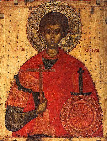 Saint Demetrius of Thessaloniki (Greek: Άγιος Δημήτριος της Θεσσαλονίκης; Russian: Великомученик Димитрий Солунский)