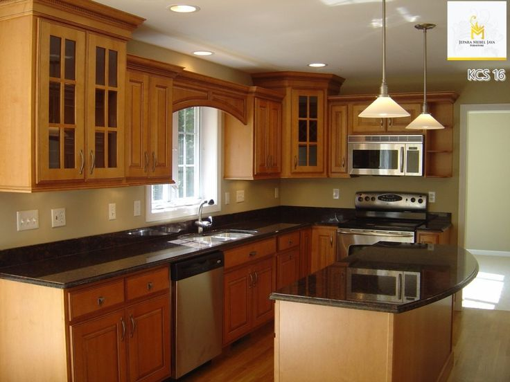 Inspiring Kitchen Design Wooden Cabinet Small Layout With Traditional Interior Decoration Combined Glossy Countertop Style