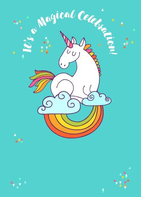 Unicorn Magic - Free Printable Birthday Invitation Template | Greetings Island