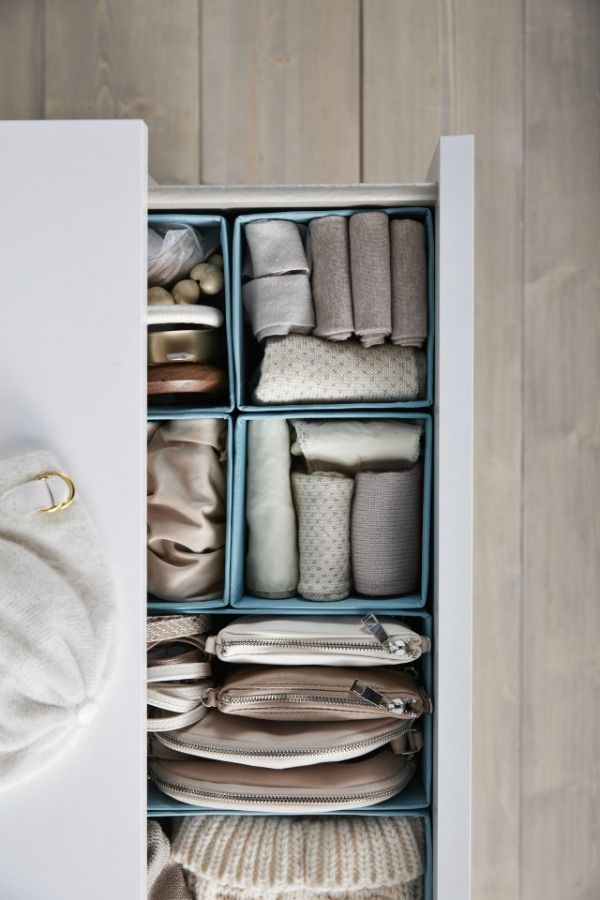 A little bit of bedroom organization goes a long way! IKEA SKUBB boxes help you organize socks, belts and jewelry in your wardrobe or chest of drawers.
