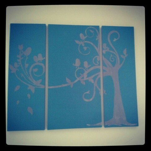 Bird and tree canvas painting