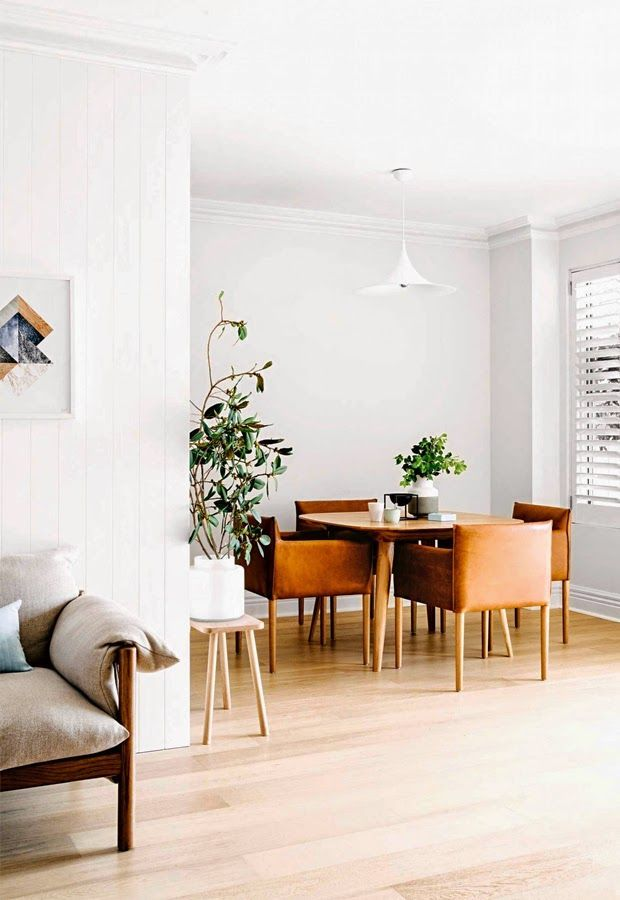 White walls, brown leather chairs and wooden dining table in an open plan living rooms   Decor   Interiors   The Lifestyle Edit