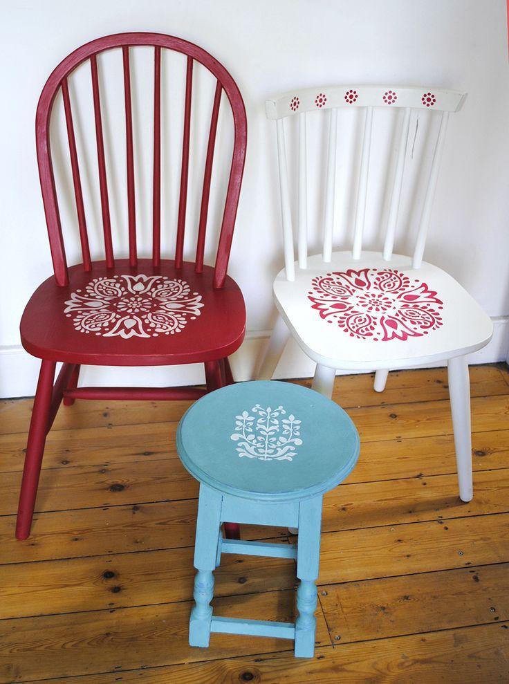 stencilled chairs  Nicolette Tabram Designs