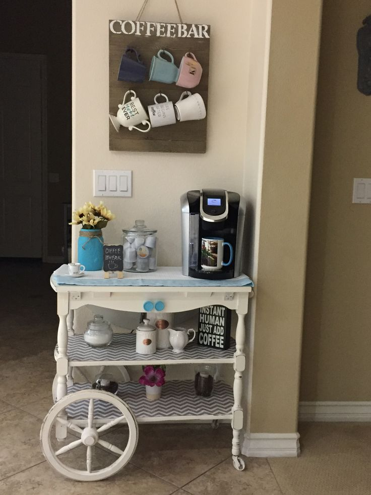 1940's tea cart, I turned into a coffee bar in my kitchen.☕️☕️