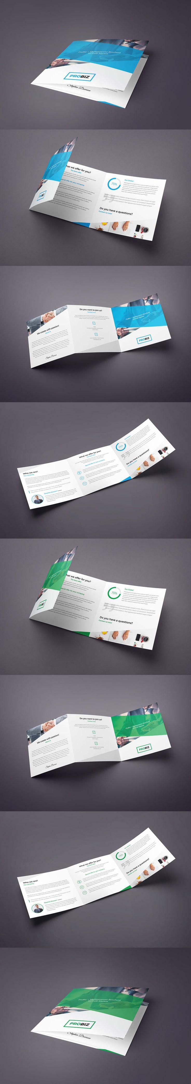 ProBiz – Tri-Fold Square Brochure Template PSD
