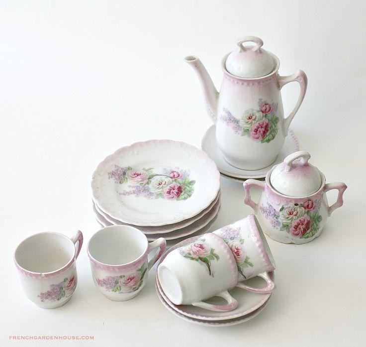 Antique Victorian Children's Porcelain Tea Set Pink Roses 1800's