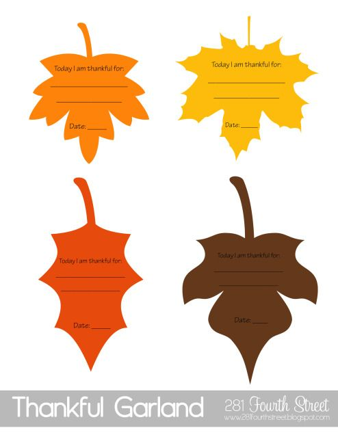 "FREE Printable ""Today I am Thankful for: _______"" leaves from 281 Fourth Street. Also includes date so you can fill one out each day. Can use to create a Thankful Banner or Gratitude Tree to hang leaves somewhere visible in the home."