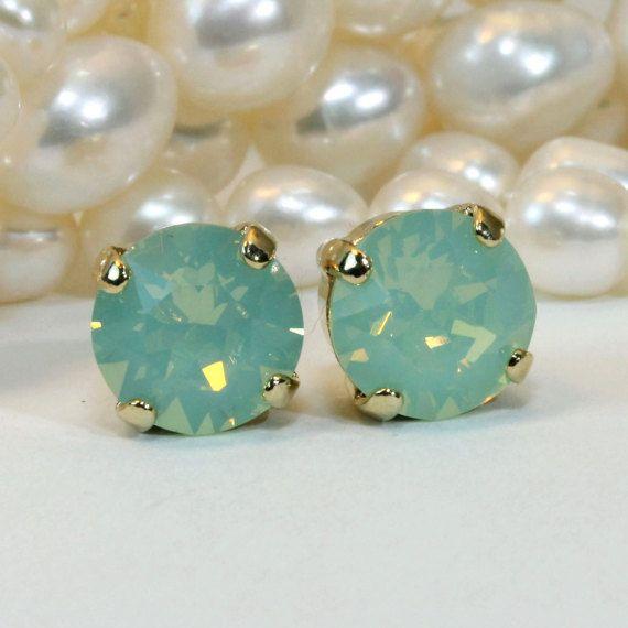 Mint Studs Mint Swarovski Crystal Earrings Mint Green Opal Post Earrings Mint Opal Wedding Mint Bridesmaids gift,Chrysolite Opal,Gold,GE1