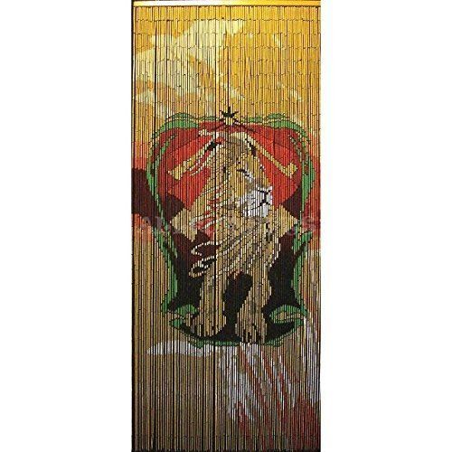Bamboo Beaded Door Curtains Divider Wall Hanging Rasta Lion Hand Painted
