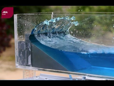 Wave tank demonstration showing the impact of coastal defences on flood risk - YouTube