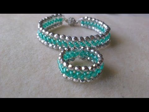 PULSERA Y ANILLO VERDE Y PLATA-BRACELET AND RING LIGHT EMERALD AND SILVER COLOR. - YouTube