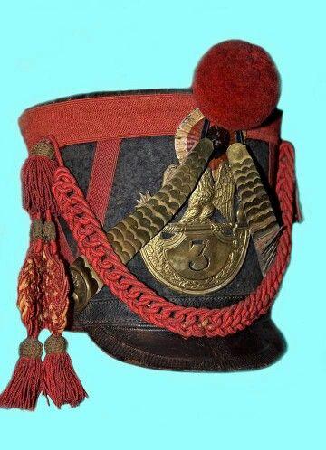 Shako da granatiere del 3 rgt. fanteria della linea o da carabiniere del 3 rgt. di fanteria leggera