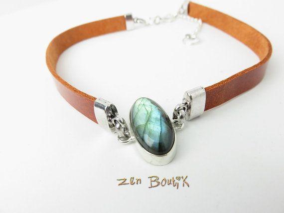 Collier Choker ou Bracelet 2 tours Labradorite et Cuir, Ras de Cou Cuir et Labradorite Argent 925, Cuir Brique, Cadeau Femme Bijoux Zen Chic