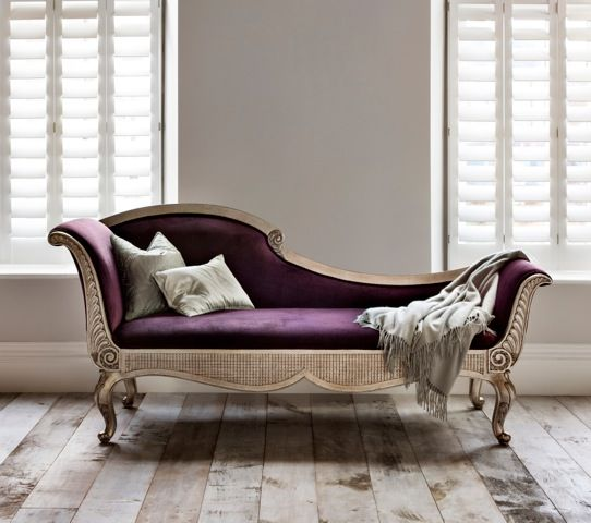 I love the deep purple here. I can imagine a peaceful catnap. (http://www.modenus.com/blog/interiordesign/things-modenus-loves-versailles-chaise-longue-from-and-so-to-bed)