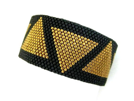 Peyote Bracelet / Egypt Bracelet / Beaded Bracelet in Light Metallic Bronze and…