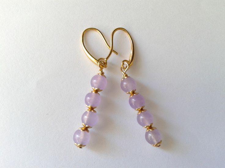 Stone Jewellery - orecchini quattro perle giada lavanda - un prodotto unico di tizianat su DaWanda