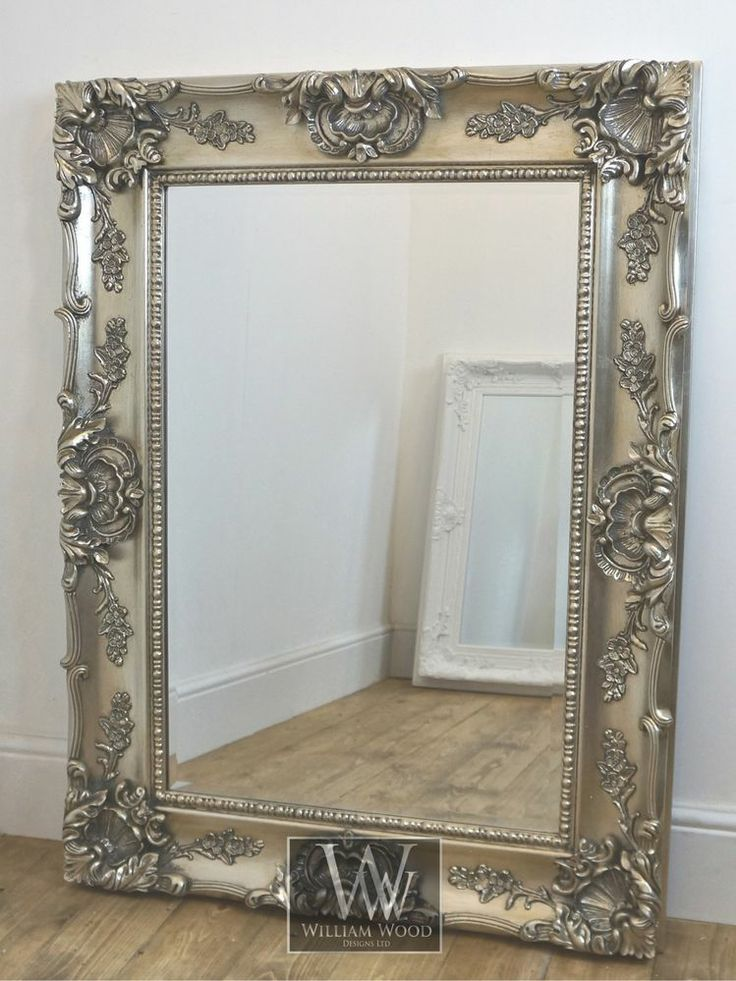 "Grasmere Silver Ornate Rectangle Antique Wall Mirror 47"" x 35"" X Large"