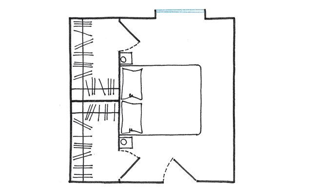 Progetto cabina armadio: dietro il letto a spazi separati