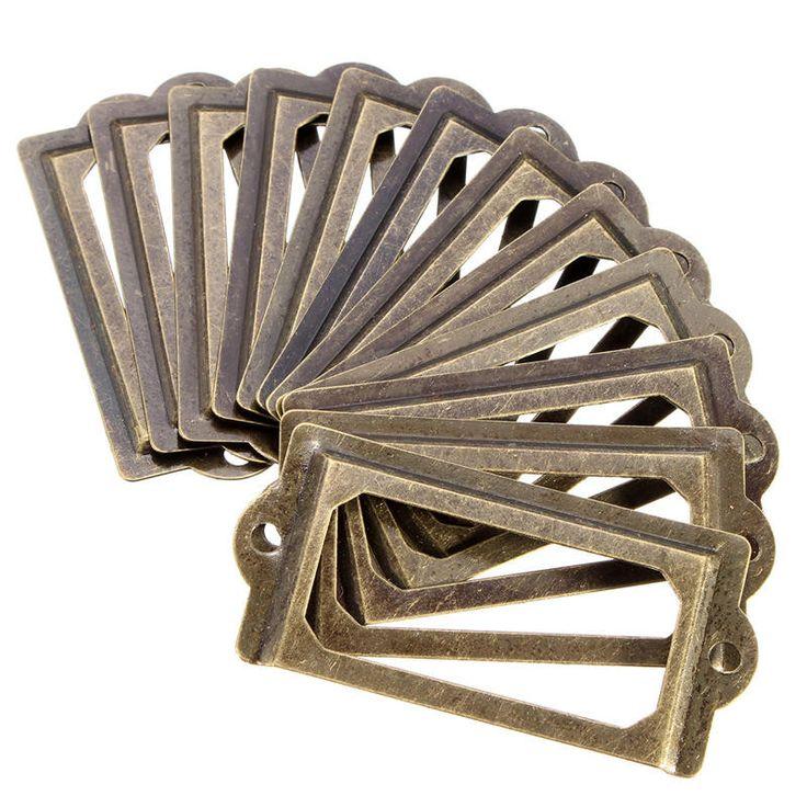12 Pcs antigo de Metal etiqueta de punho quadro titular de arquivo para móveis gaveta do armário caixa Bin em Alças e Maçanetas de Melhorias na casa no AliExpress.com | Alibaba Group