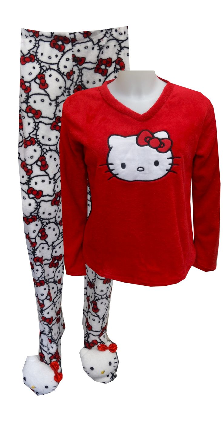 Hello Kitty Face Red Two Piece Plush Footie Pajama Our softest pj's ever! These plush pajama sets for women feature everyone's ...