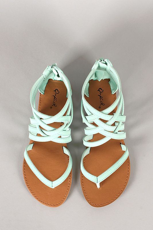 Stylish Mint Strappy Flat Sandals. Supper adorable ! plus i love the color:)