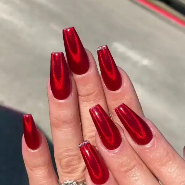 Nails Nail Art On Instagram Yes Or No Please Comment Credit Sugarandcream Follow N Red Sparkle Nails Holographic Nails Acrylic Holographic Nails