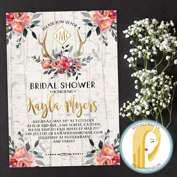 Rustic Bridal Shower Invitation // Bohemian Bridal Shower Invitation // Watercolor Floral Bridal Shower Invitation // Bohemian Bridal Shower Invitation // Boho Bridal Shower Invitation // Antler Bridal Shower Invitation // Monogram Bridal Shower Invitation by socalcrafty on Etsy. Printable invitations or printed for you on heavy card stock. $16+