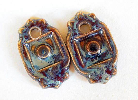 Handmade Ceramic Earring Charms Pair boho amber and blue